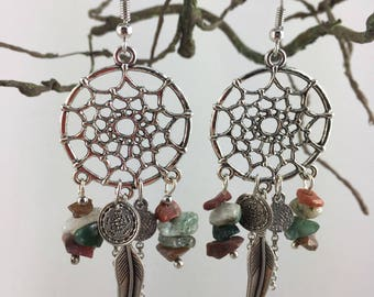 Dream catcher earrings, beads and feathers