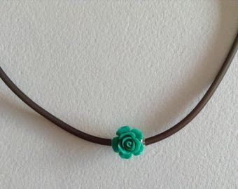 Green Pink Brown cord necklace