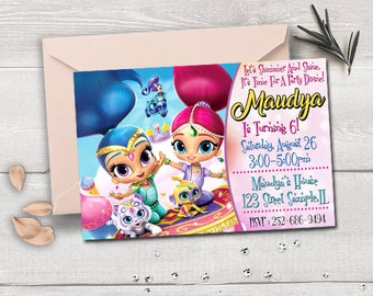 Shimmer And Shine invitation, Shimmer And Shine birthday, Shimmer And Shine party, Shimmer And Shine printable, Shimmer And Shine card
