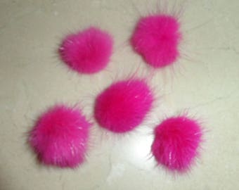 set of 5 fuchsia tassels 20/30 mm rabbit fur
