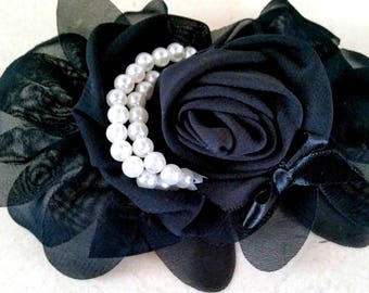 1 black flower with pearls 13 CMS applique for sewing or craft