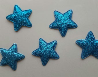 5 applique blue stars with glitter 34 mm