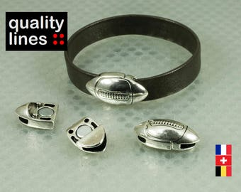Silver plated zamak magnetic clasp for leather rugby ball flat 10mm hole 2 mm for men's bracelet - rugby ball clasp