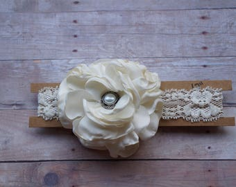 Rustic lace headband- 12 inches