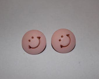 Fancy round, funny smile button