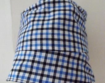 bucket hat for boys in blue gingham cotton