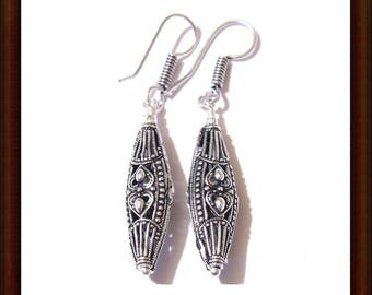 Silver Sterling 925 - long earrings cloisonne - 60mm