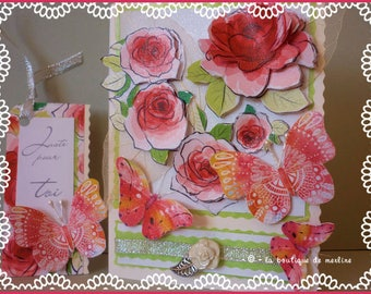 All occasion card: Pink Butterflies and delicate