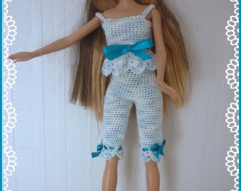 Barbie: Pajama outfit Interior, Blue Heather, crocheted cotton