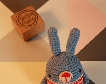 """""""Ti rabbit"""" 100% cotton Crochet Amigurumi rattle toy"""