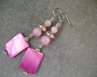 Cat's eye beads and Pearl Earrings pink