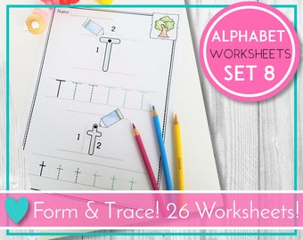 Alphabet Trace Worksheets, Letter Formation, ABC Printables, Preschool & Kindergarten Learning, Teaching Education Resource, Kids Activities