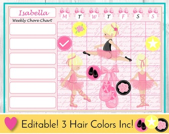 Ballet Editable Chore Chart, Reward Chart, Behaviour and Responsibility Chart, Ballet Printable Chart, Task Chart, Toddler Chart, Routine