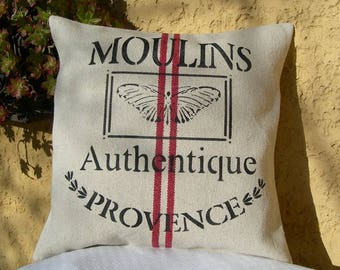 Cushion removable Moulin de Provence cotton aspect hemp with inscription in painting