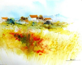 "Landscape watercolor ""field of poppies at the foot of canigou"""
