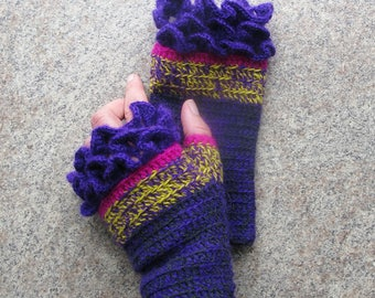 Crochet Fingerless Gloves Knit Mittens Gloves  Women's Purple Gloves Knit Fingerless Gloves Ladies Crochet Mittens Gloves Knit Accessories