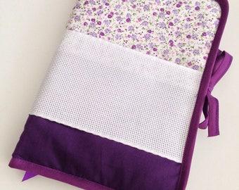 Health book has cross-stitch fabric purple, flower pattern