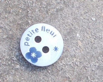 """Button flower mother of Pearl """"blue"""" 10mm"""