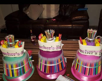 Teacher classroom supply cake