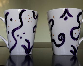 set of 2 cups hand painted