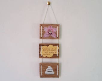 Zen wooden triptych raw happiness quote