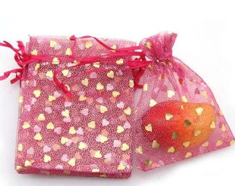 Set of 10 bags organza - 10x12cm - red with tiny gold hearts