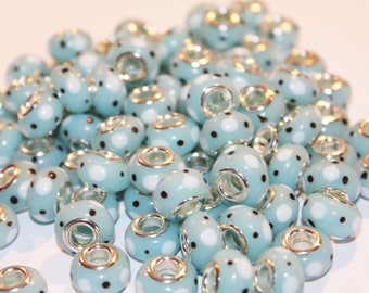 CLEARANCE - Lampwork - big hole European beads - 44 inches