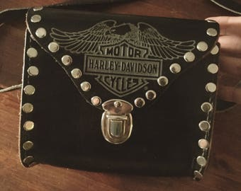 Leather studded Harley Davidson purse
