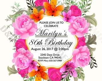 Vintage Birthday Invite, Invitations,printable invites, digital invites