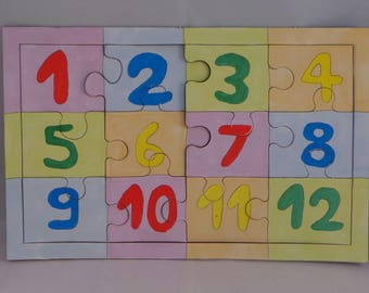 Puzzle to learn numbers from 1 to 12