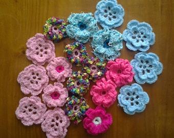 set of 20 crochet flowers