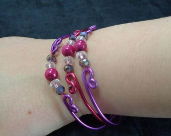 set of 3 bracelets, pink, purple and pearls