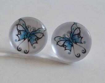 """""""Flea"""" with blue butterfly cabochon earrings"""