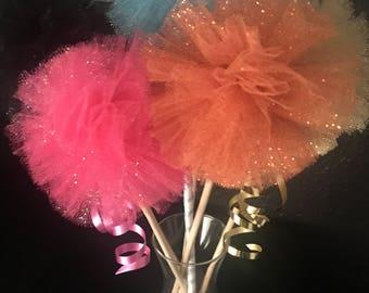 Glitter Tulle Pom poms on a stick
