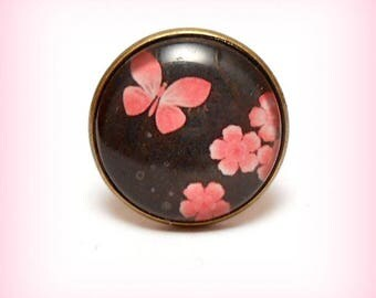 """Ring cabochon glass """"Okinawa in pink!"""""""