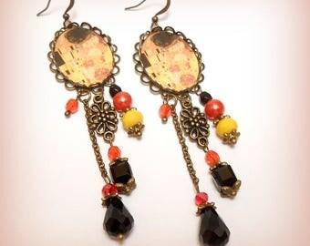 "Earrings cabochon ""Klimt - the Kiss"""