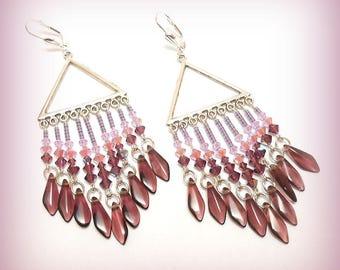 "Earrings Crystal and silver ""farandoles Amethyst pink!"""