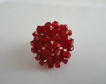 Oval Swarovski Red Crystal ring