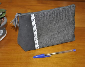"Cosmetic pouch - makeup - gray and black and white ""broderie anglaise"""