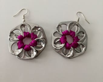 Satine bobbin capsules and Ribbon flower earrings purple jewelry woman girl