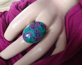 Oval Adjustable ring, Ruby fuchsite stone