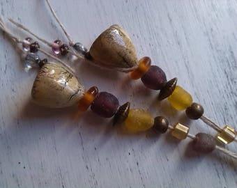 Handcrafted Moo ceramic bells earrings