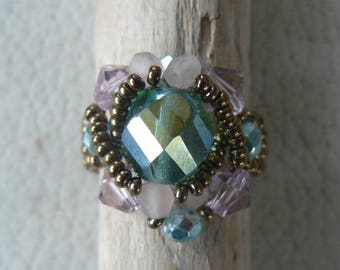 Ring cabochon swarovki Crystal beads