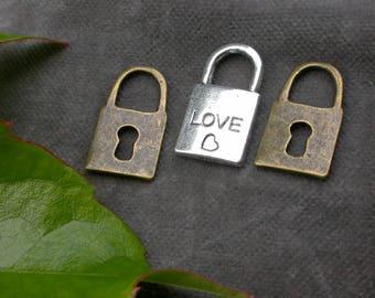 set of 3 locks padlock heart love
