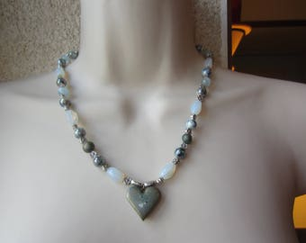 Necklace blue and grey with heart pendant