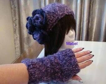 Mottled wool violet and purple handmade knit, soft and warm mittens