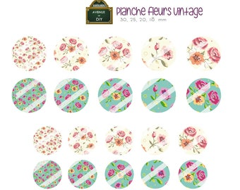 Collage sheet digital pink vintage flowers shabby chic for creation (30, 25, 20 round cabochons