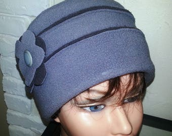 Gray crochet Hat Toque fleece
