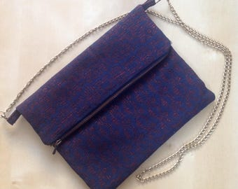Clutch bag with flap, trendy.