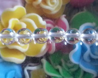 5 6 mm round rock crystal beads, 1 mm hole